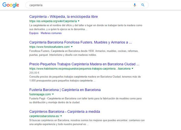 Buscando Carpinteria en Google
